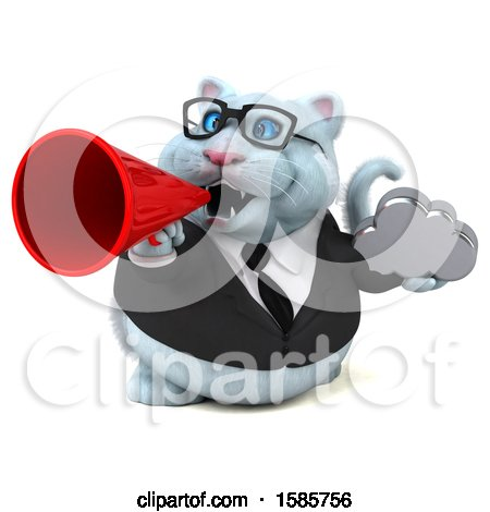 Clipart of a 3d White Business Kitty Cat Holding a Cloud, on a White Background - Royalty Free Illustration by Julos