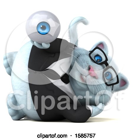 Clipart of a 3d White Business Kitty Cat Holding an Eyeball, on a White Background - Royalty Free Illustration by Julos