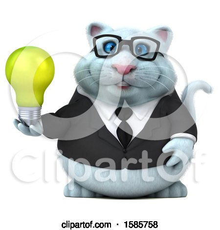 Clipart of a 3d White Business Kitty Cat Holding a Light Bulb, on a White Background - Royalty Free Illustration by Julos