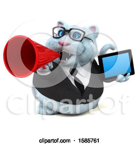 Clipart of a 3d White Business Kitty Cat Holding a Tablet, on a White Background - Royalty Free Illustration by Julos