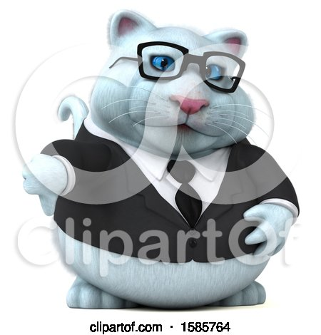 Clipart of a 3d White Business Kitty Cat Holding a Thumb Down, on a White Background - Royalty Free Illustration by Julos