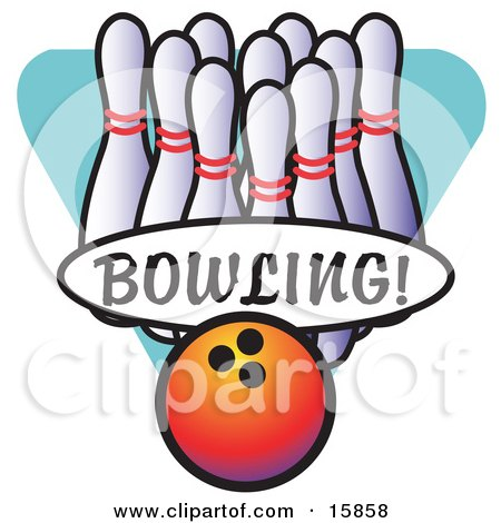 Bowling Ball By A Lineup Of Pins Clipart Illustration by Andy Nortnik