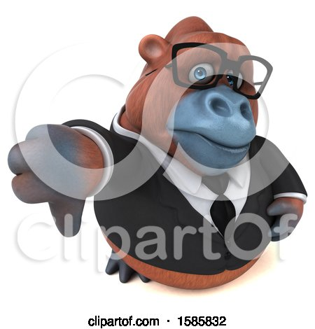 Clipart of a 3d Business Orangutan Monkey Holding a Thumb Down, on a White Background - Royalty Free Illustration by Julos