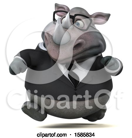 Clipart of a 3d Business Rhinoceros, on a White Background - Royalty Free Illustration by Julos