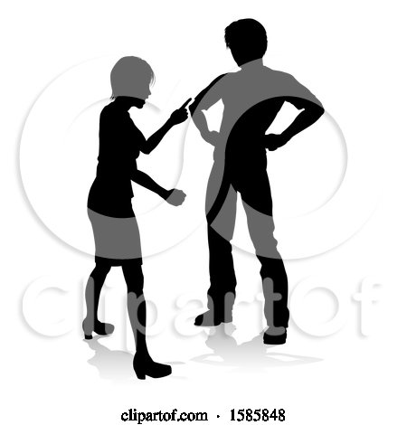 Clipart of a Silhouetted Couple Fighting, with a Reflection or Shadow, on a White Background - Royalty Free Vector Illustration by AtStockIllustration