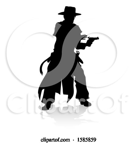 Clipart of a Silhouetted Shooting Cowboy, with a Reflection or Shadow, on a White Background - Royalty Free Vector Illustration by AtStockIllustration