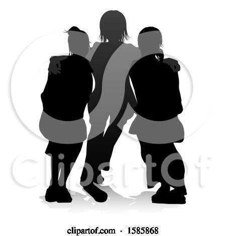 Clipart of a Silhouetted Group of Teens, with a Reflection or Shadow, on a White Background - Royalty Free Vector Illustration by AtStockIllustration