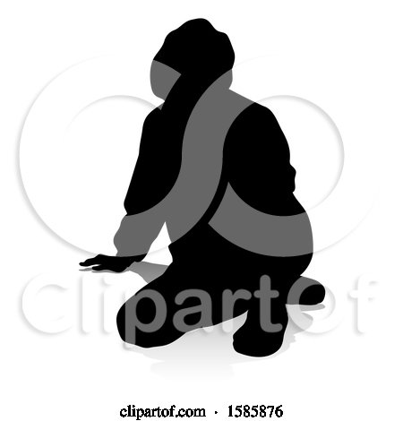 Clipart of a Silhouetted Teen in a Hoodie, with a Reflection or Shadow, on a White Background - Royalty Free Vector Illustration by AtStockIllustration