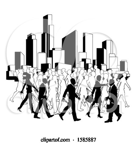 Clipart of a Silhouetted Busy City with Business Men and Women - Royalty Free Vector Illustration by AtStockIllustration
