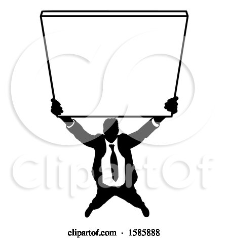 Clipart of a Silhouetted Business Man Holding up a Sign - Royalty Free Vector Illustration by AtStockIllustration
