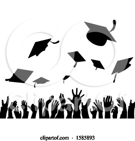 Clipart of a Silhouetted Crowd of Graduate Hands Throwing Their Graduation Caps - Royalty Free Vector Illustration by AtStockIllustration
