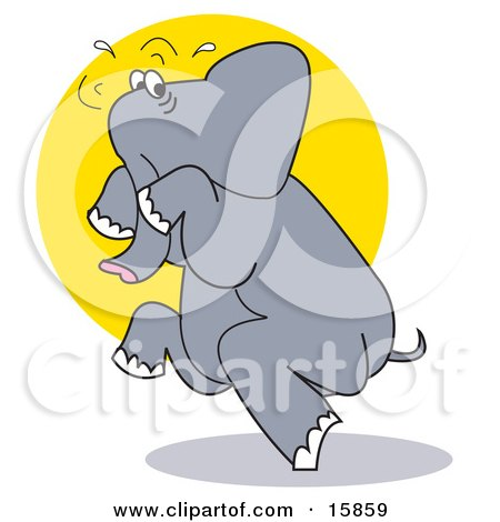Scared Elephant Tip Toeing Posters, Art Prints