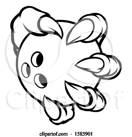 Clipart Of A Monster Claw Holding A Bowling Ball
