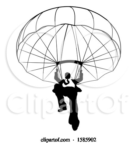 Clipart of a Silhouetted Black and White Business Man Parachuting - Royalty Free Vector Illustration by AtStockIllustration