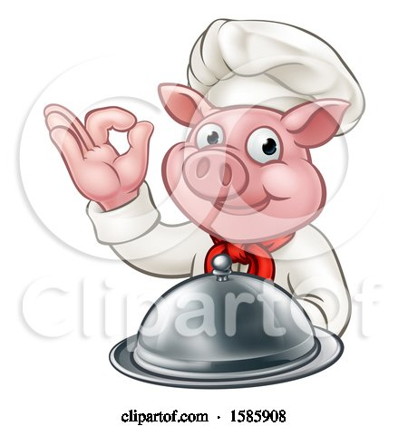 Clipart of a Chef Pig Holding a Cloche and Gesturing Okay - Royalty Free Vector Illustration by AtStockIllustration