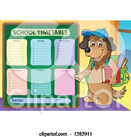 Clipart of a Cartoon Dog Student by a School Time Table - Royalty Free Vector Illustration by visekart