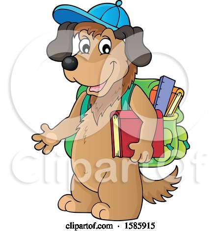 Clipart of a Cartoon Dog Student - Royalty Free Vector Illustration by visekart