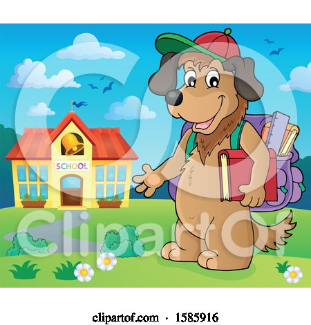 Clipart of a Cartoon Dog Student by a School - Royalty Free Vector Illustration by visekart