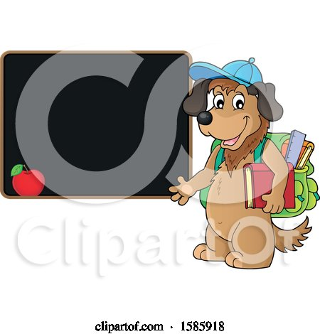 Clipart of a Cartoon Dog Student by a Black Board - Royalty Free Vector Illustration by visekart