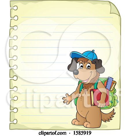 Clipart of a Ruled Paper Border of a Cartoon Dog Student - Royalty Free Vector Illustration by visekart
