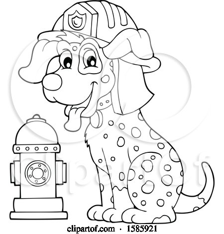 Clipart of a Cartoon Lineart Fire Fighter Dalmatian Dog - Royalty Free Vector Illustration by visekart