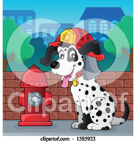 Clipart of a Cartoon Fire Fighter Dalmatian Dog - Royalty Free Vector Illustration by visekart