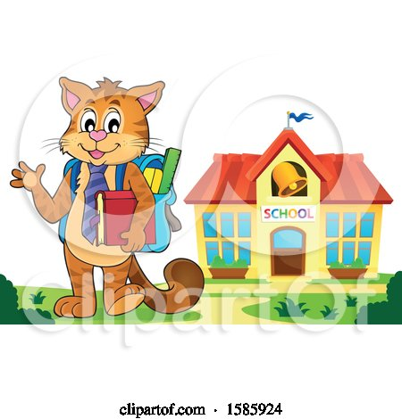 Clipart of a Cartoon Cat Student - Royalty Free Vector Illustration by visekart