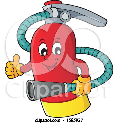 Clipart of a Cartoon Fire Extinguisher Character - Royalty Free Vector Illustration by visekart