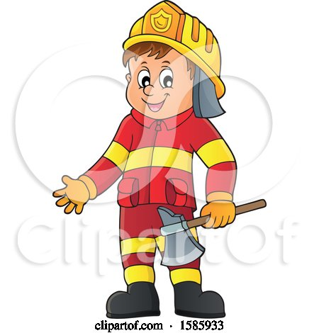 Clipart of a Cartoon Fire Man Holding an Axe - Royalty Free Vector Illustration by visekart
