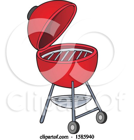Clipart of a Red Bbq Grill - Royalty Free Vector Illustration by visekart