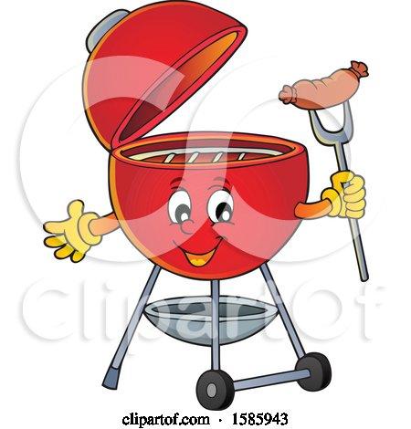 Clipart of a Red Bbq Grill Character Holding a Sausage - Royalty Free Vector Illustration by visekart