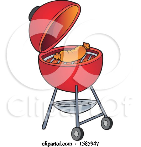Clipart of a Sausage Cooking on a Red Bbq Grill - Royalty Free Vector Illustration by visekart