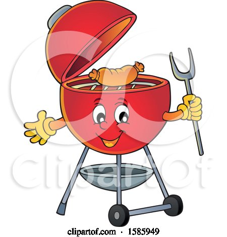 Clipart of a Red Bbq Grill Character Cooking a Sausage - Royalty Free Vector Illustration by visekart