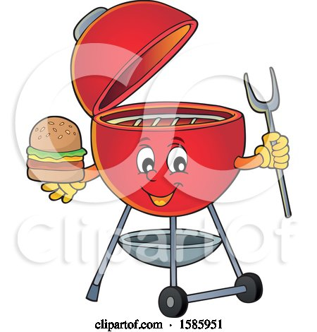 Clipart of a Red Bbq Grill Character Holding a Burger - Royalty Free Vector Illustration by visekart