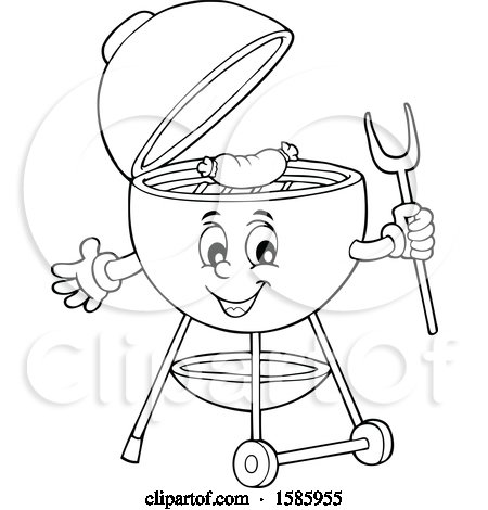Clipart of a Lineart Bbq Grill Character Cooking a Sausage - Royalty Free Vector Illustration by visekart