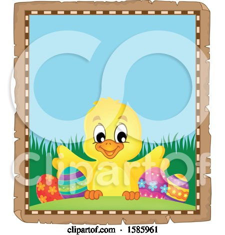 Parchment Border of an Easter Chick Posters, Art Prints