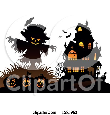 Clipart of a Silhouetted Bird on a Scarecrow over Halloween Pumpkins near a Haunted House - Royalty Free Vector Illustration by visekart