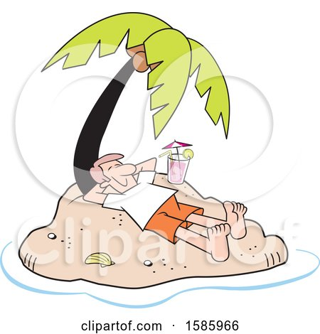 Clipart of a Cartoon Relaxed White Man Relaxing with a Cocktail on a Private Island - Royalty Free Vector Illustration by Johnny Sajem