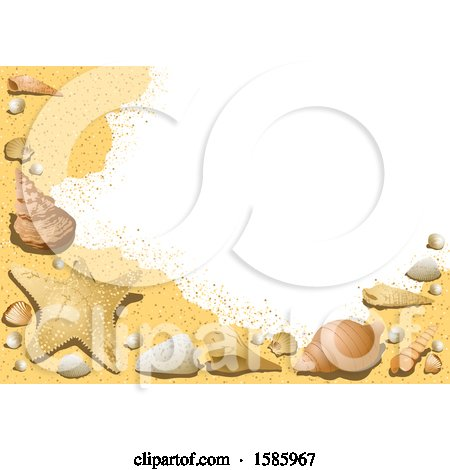 Clipart of a Summer Time Sandy Beach and Shells Background - Royalty Free Vector Illustration by dero