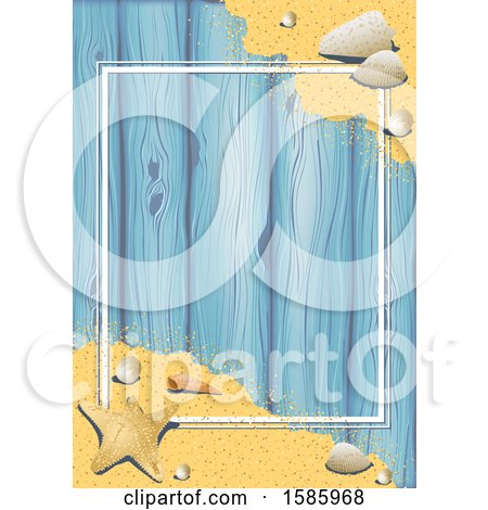Clipart of a Summer Time Sandy Beach and Shells Background over Wood, with a Frame - Royalty Free Vector Illustration by dero