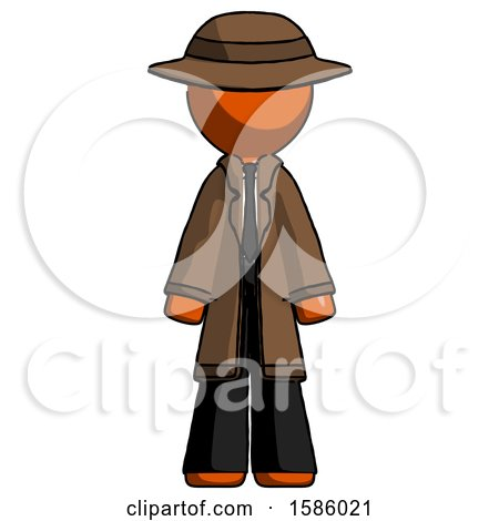 Orange Detective Man Standing Facing Forward by Leo Blanchette