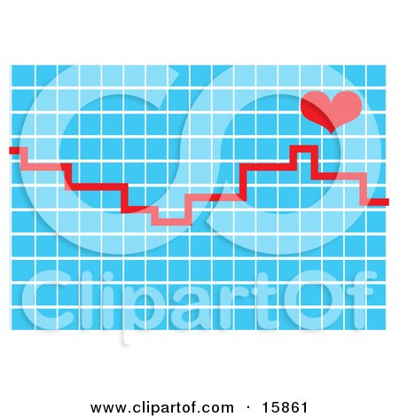 Red Line Over A Graph With A Heart On A Heart Monitor Clipart Illustration by Andy Nortnik