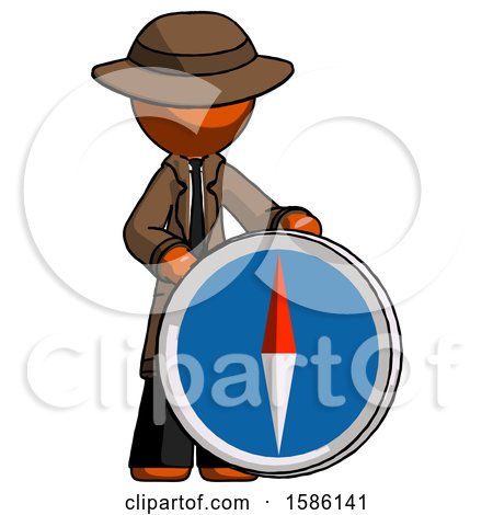 Orange Detective Man Standing Beside Large Compass by Leo Blanchette