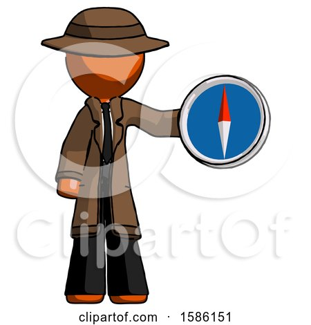 Orange Detective Man Holding a Large Compass by Leo Blanchette