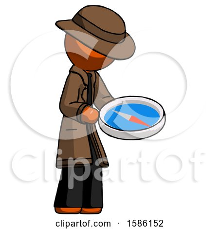 Orange Detective Man Looking at Large Compass Facing Right by Leo Blanchette