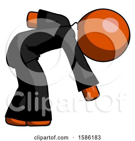 Orange Clergy Man Picking Something up Bent over by Leo Blanchette
