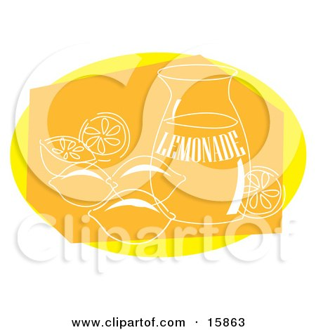 Pitcher Of Lemonade With Lemons Around It Clipart Illustration by Andy Nortnik
