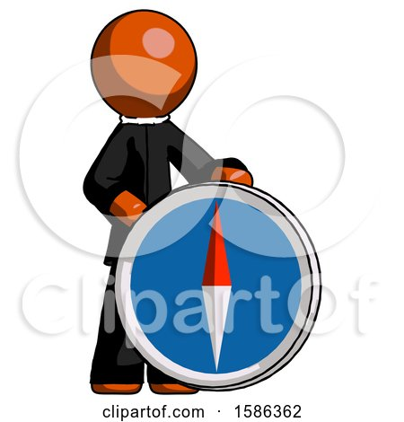 Orange Clergy Man Standing Beside Large Compass by Leo Blanchette