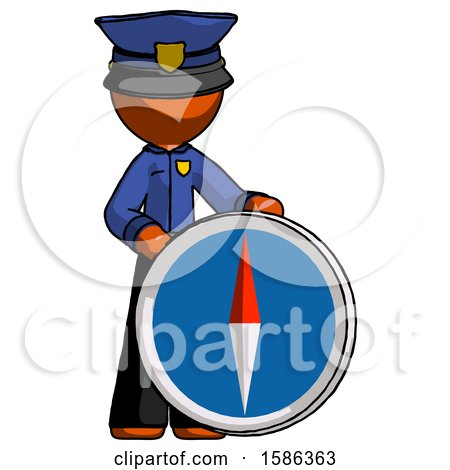 Orange Police Man Standing Beside Large Compass by Leo Blanchette