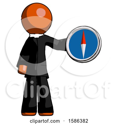 Orange Clergy Man Holding a Large Compass by Leo Blanchette